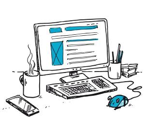 Schreibtisch mit Monitor, Maus, Tastatur, Handy