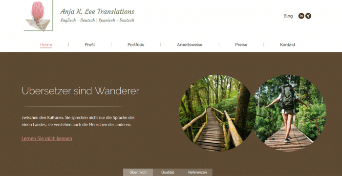 Website Übersetzerin Screenshot
