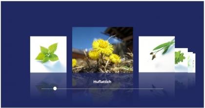 Heilpflanzenlexikon Coverflow Karussell